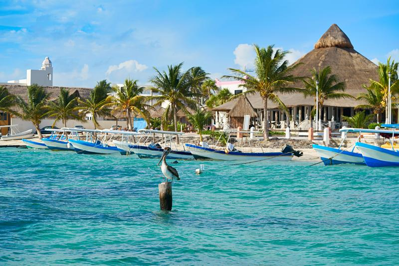 Puerto Morelos plaża w Riviera majowiu zdjęcie stock