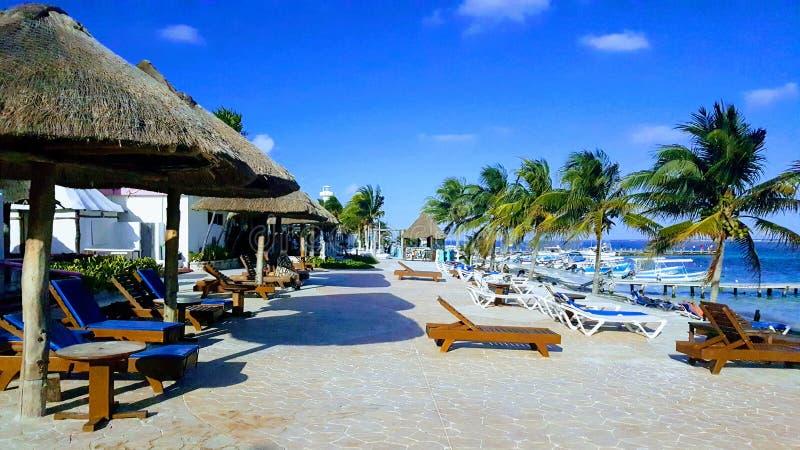Puerto Morelos plaży molo fotografia royalty free