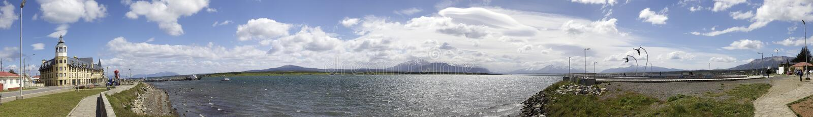 Puerto Natale view with a Homage to the Wind monument in Patagonia, Chile royalty free stock photos