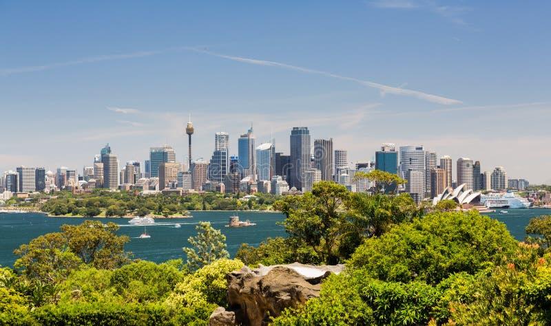 Puerto panorámico dramático de Sydney de la foto foto de archivo