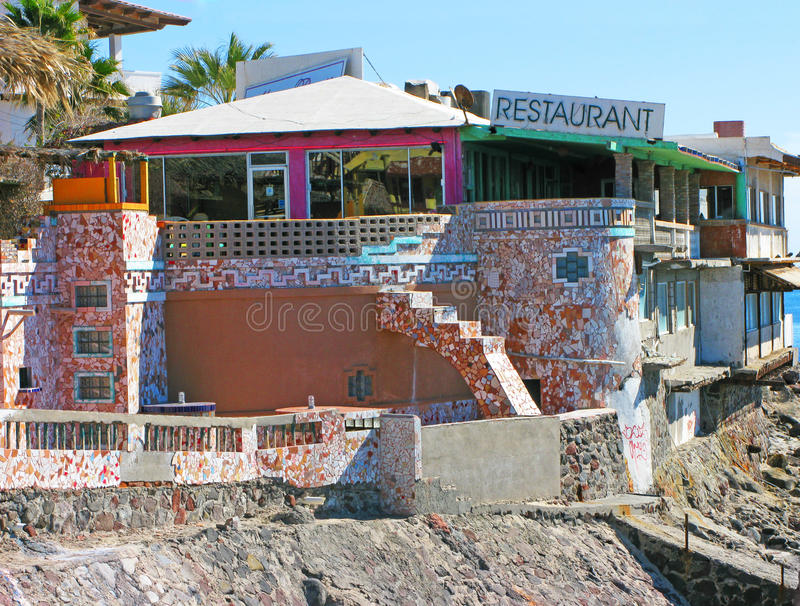 Puerto Penasco, Mexico - Waterfront Restaurant. This restaurant and its colorful tile work looks out over the Sea of Cortez and is found near the waterfront town stock photos