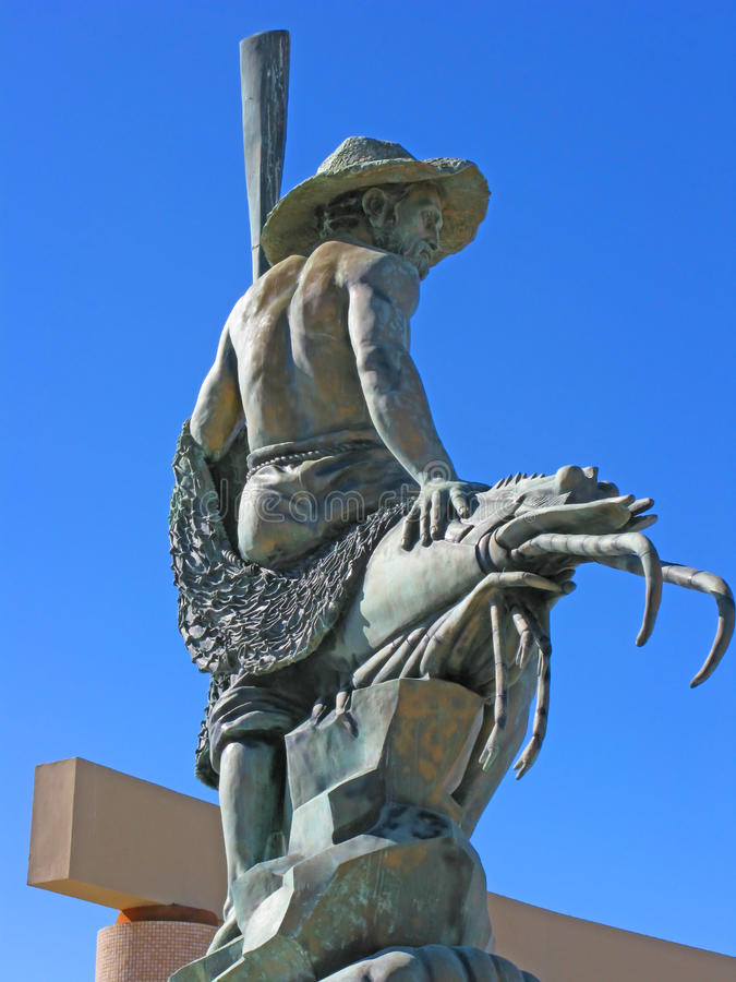 Puerto Penasco, Mexico - Waterfront Sculpture. This beautiful sculpture honoring shrimp fishermen is found at the waterfront town plaza or square in Puerto royalty free stock photography