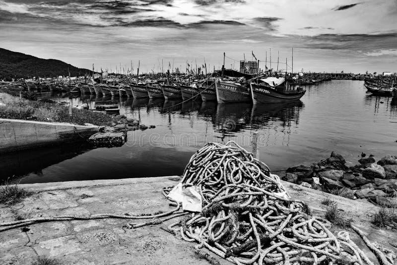 Puerto pesquero en danang en Vietnam imagen de archivo libre de regalías