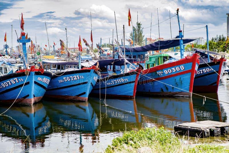Puerto pesquero en danang en Vietnam fotos de archivo libres de regalías
