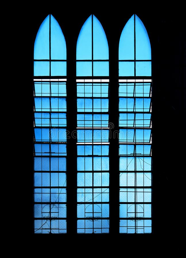 Blue windows of the Cathedral in Puerto Princesa City, Palawan Province, Philippines. Puerto Princesa City, Palawan Province, Philippines - February 5, 2017 stock image