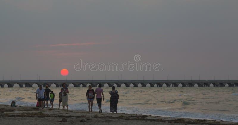 Puerto Progreso strand, 30 minuter från staden av Merida arkivbilder
