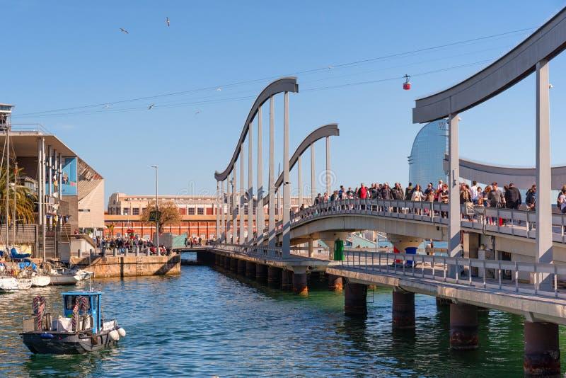 Puerto puente de Barcelona, Rambla de marcha foto de archivo libre de regalías