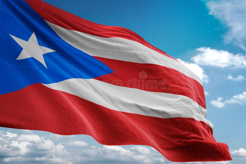 Puerto Rico national flag waving blue sky background realistic 3d illustration royalty free illustration
