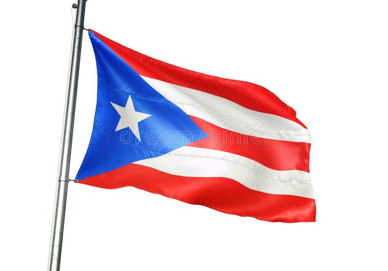 Puerto Rico national flag waving isolated on white background realistic 3d illustration royalty free illustration