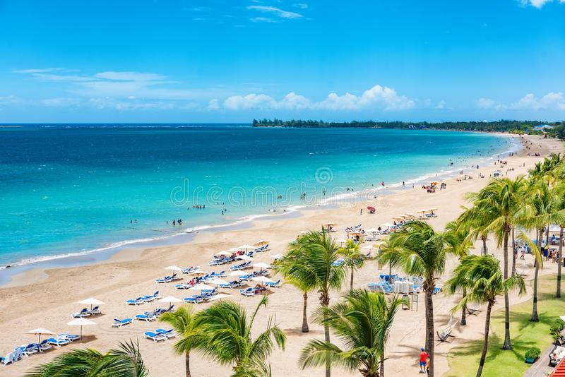 Puerto Rico beach travel vacation landscape background. Isla Verde resort in San Juan, famous tourist cruise ship destination in. The Caribbean royalty free stock photos