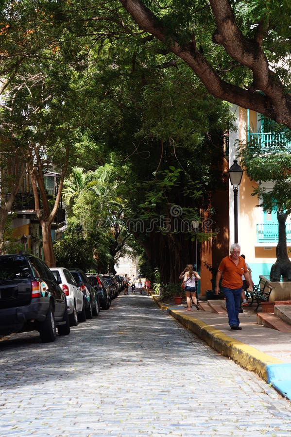 Puerto Rico. The blue brick roads in old town royalty free stock photo