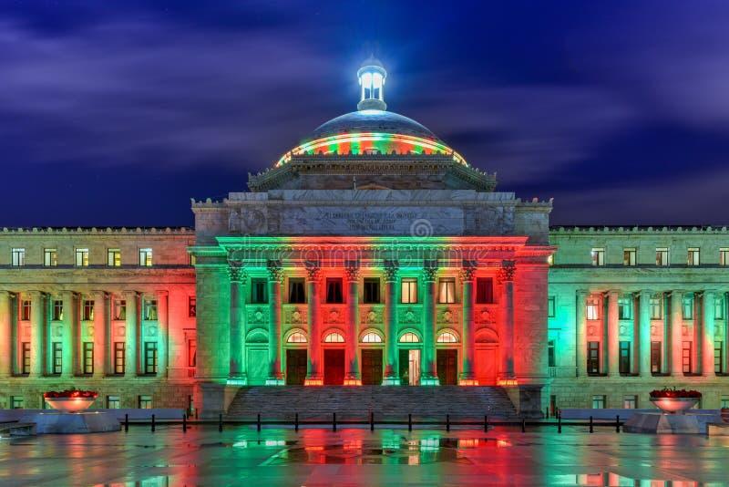 Puerto Rico Capitol Building - San Juan. Puerto Rico Capitol (Capitolio de Puerto Rico) and Castillo de San Cristobal, San Juan, Puerto Rico. Castillo de San stock image