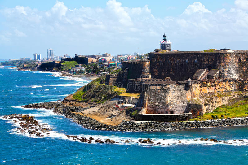 Puerto Rico Caribbean. El Morro fort in old San Juan, Puerto Rico, Caribbean - West Indies royalty free stock photo