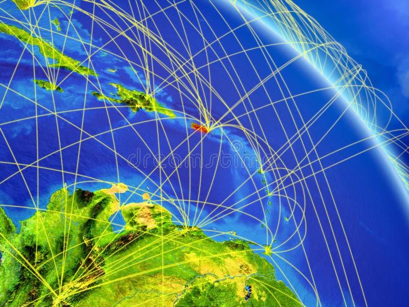 Puerto Rico de l'espace avec le réseau photos libres de droits