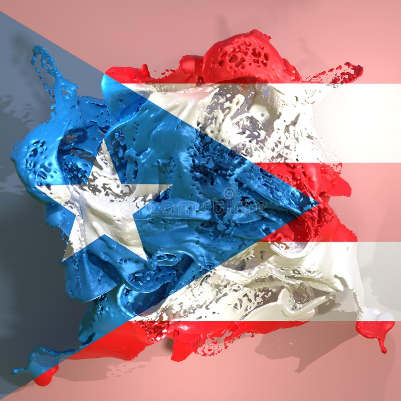 Puerto Rico flag liquid. 3d rendering of a Puerto Rico country flag in a liquid fluid stock illustration