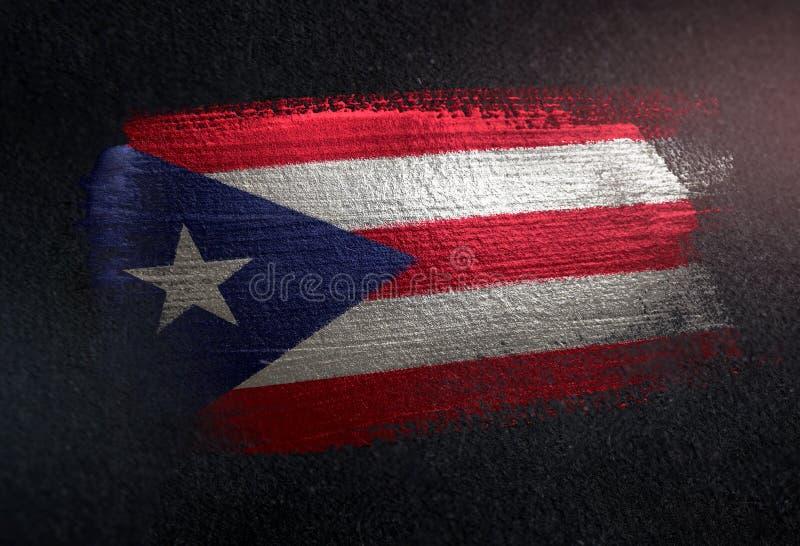 Puerto Rico Flag Made of Metallic Brush Paint on Grunge Dark Wall.  royalty free stock images