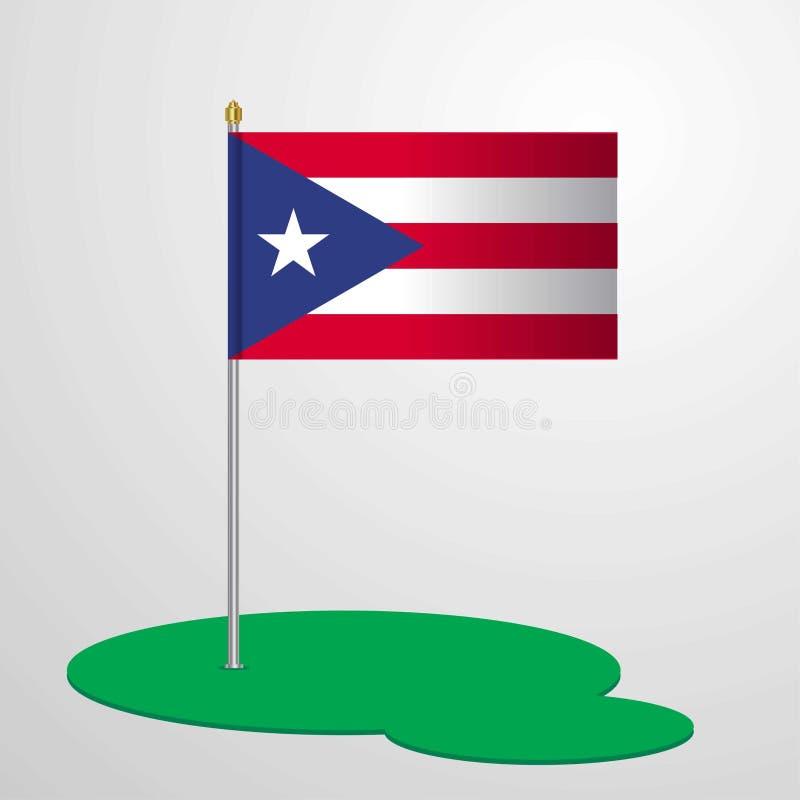 Puerto Rico Flag Pole ilustração stock