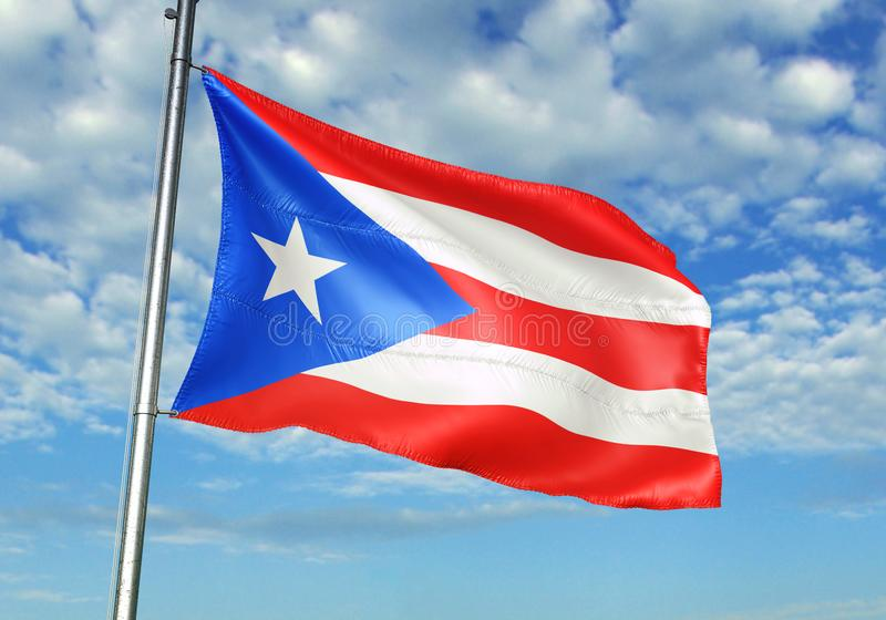 Puerto Rico flag waving with sky on background realistic 3d illustration vector illustration