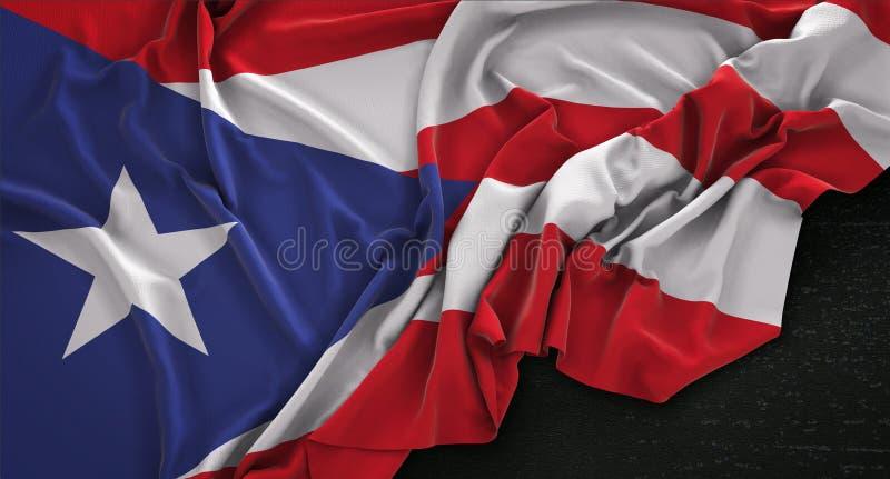 Puerto Rico flaga Marszczył Na Ciemnym tle 3D Odpłaca się royalty ilustracja