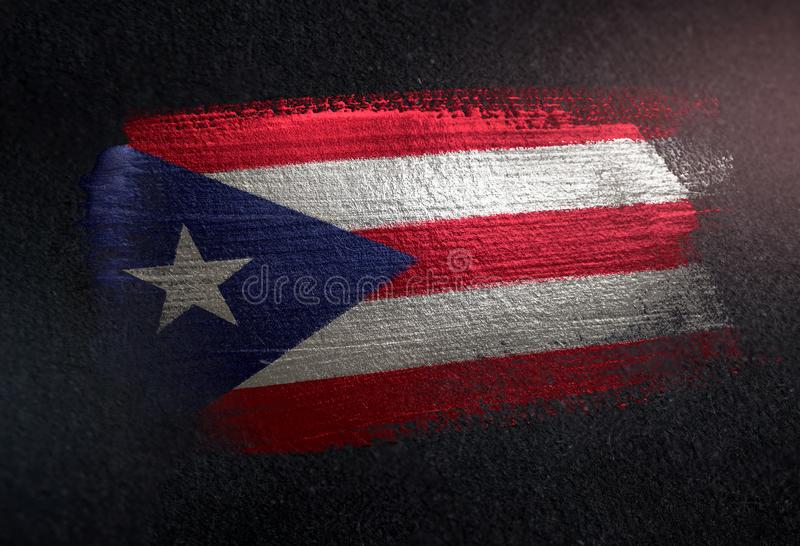 Puerto Rico flaga Robić Kruszcowa Szczotkarska farba na Grunge zmroku Wal obrazy royalty free