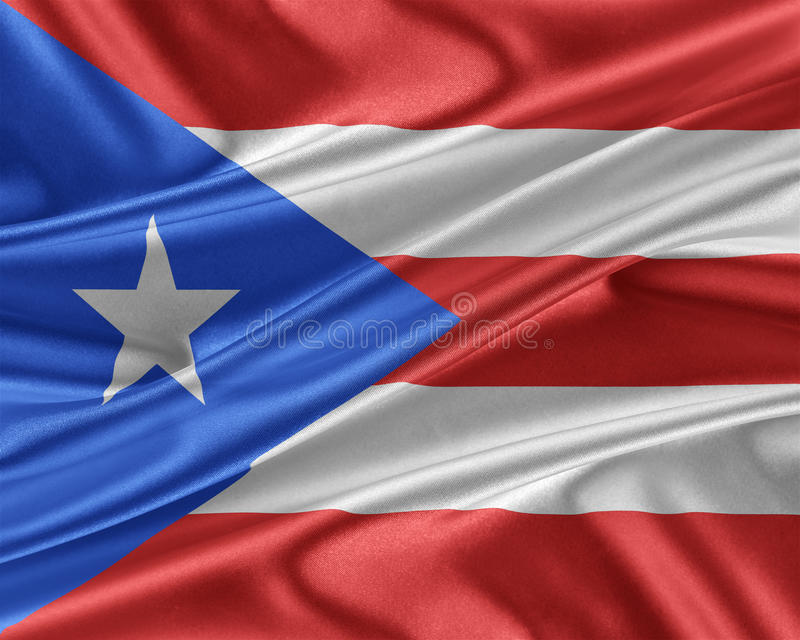 Puerto Rico flaga z glansowaną jedwabniczą teksturą ilustracja wektor