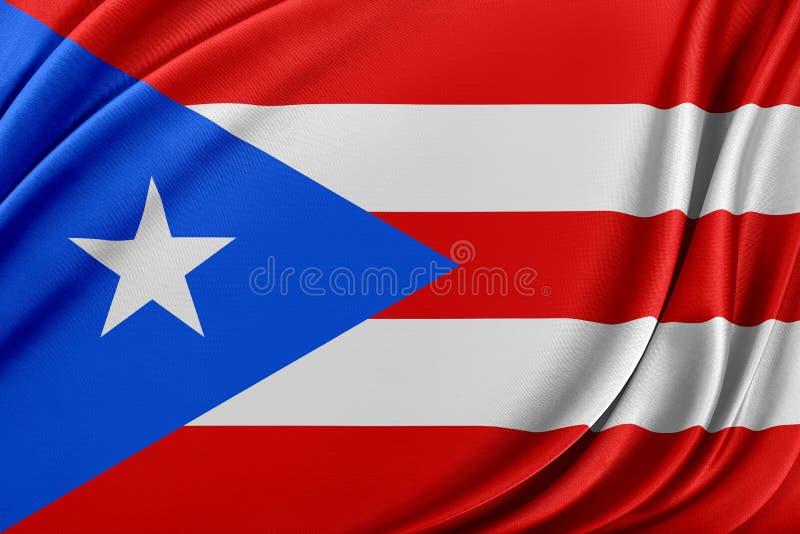 Puerto Rico flagga med en glansig siden- textur royaltyfri illustrationer
