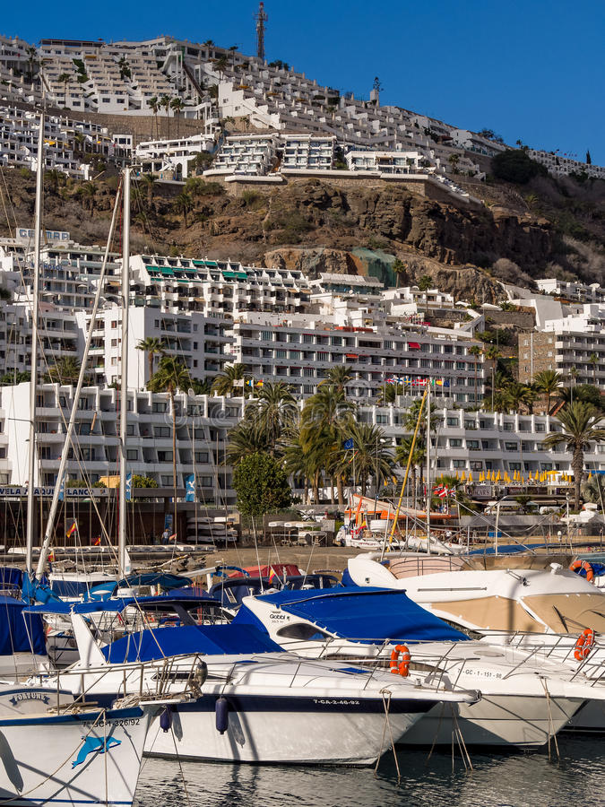 Puerto Rico Holiday Resort Gran Canaria Spain. Yachting marina and hillside apartments in the holiday resort of Puerto Rico. Gran Canaria, Canary Islands, Spain stock photo