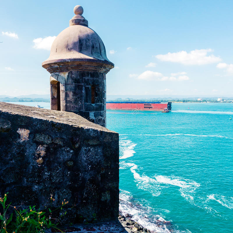 Puerto Rico landcape. View to symblic building od Puerto Rico in San Juan royalty free stock images