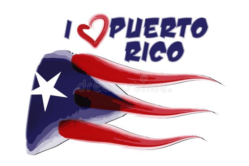Puerto Rico målade flaggasymbolslogo vektor illustrationer