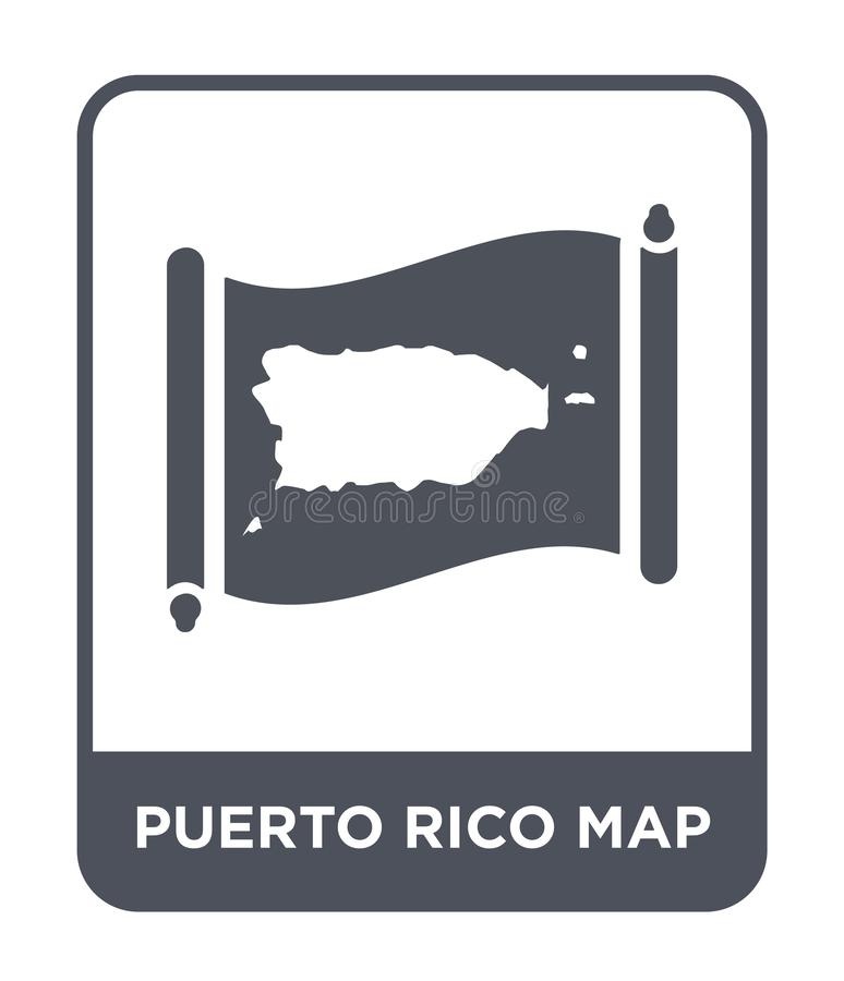 Puerto rico map icon in trendy design style. puerto rico map icon isolated on white background. puerto rico map vector icon simple. And modern flat symbol for stock illustration