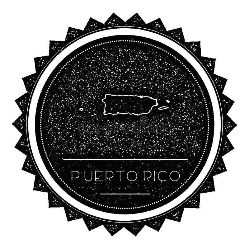 Puerto Rico Map Label avec le rétro vintage dénommé illustration libre de droits