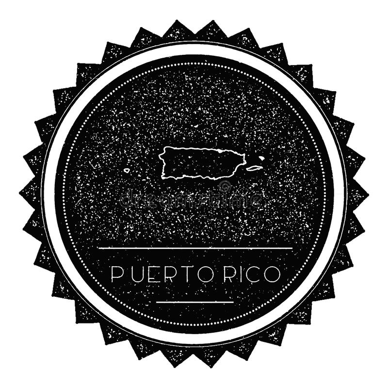 Puerto Rico Map Label com o vintage retro denominado ilustração royalty free