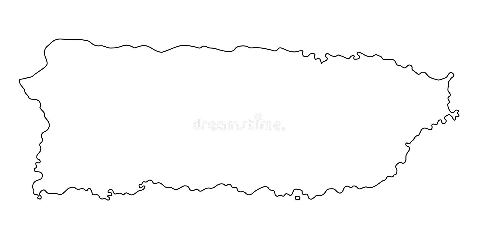 Puerto Rico map outline vector illustration royalty free illustration