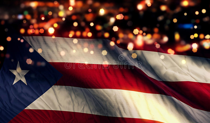 Puerto Rico National Flag Light Night Bokeh Abstract Background. Art stock photo