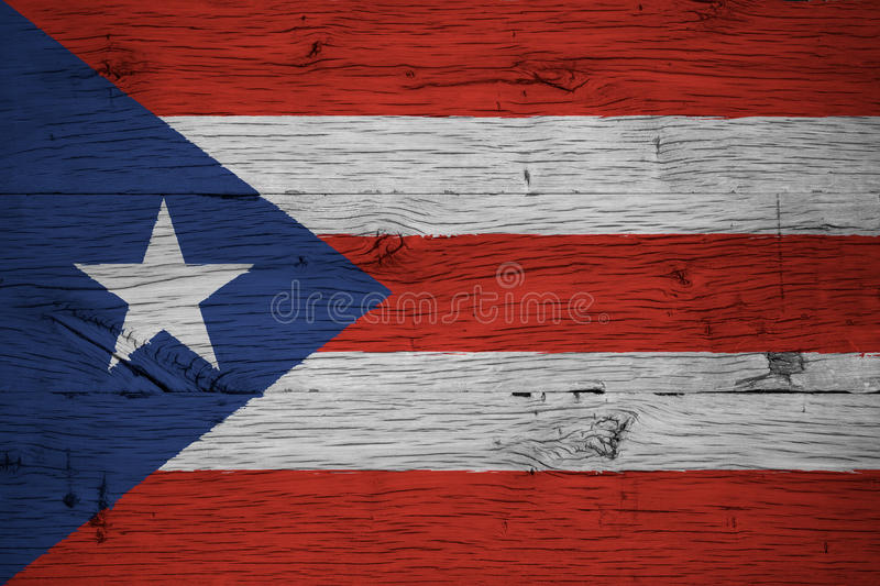 Puerto Rico national flag painted old oak wood royalty free stock photography