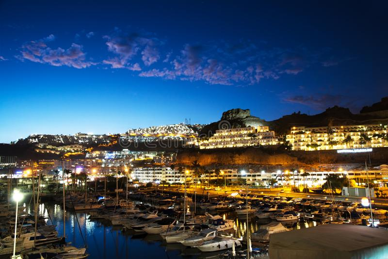 Puerto Rico Night view in the Canary Islands. A Puerto Rico Night view in the Canary Islands stock photos
