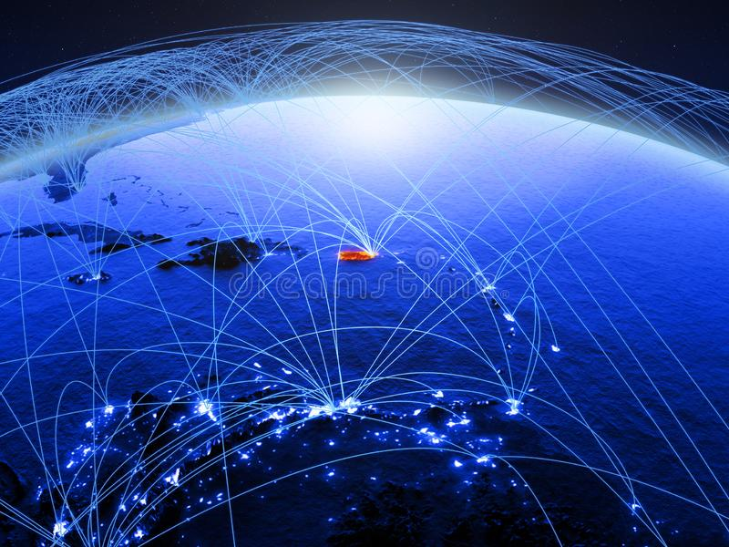 Puerto Rico op blauwe digitale aarde met internationaal netwerk die mededeling, reis en verbindingen vertegenwoordigen 3d stock afbeelding
