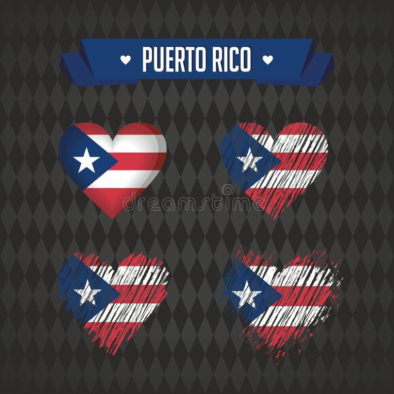 Puerto Rico Samling av fyra vektorhjärtor med flaggan Hjärtakontur vektor illustrationer