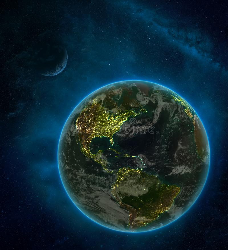 Puerto Rico from space on Earth at night surrounded by space with Moon and Milky Way. Detailed planet with city lights and clouds. 3D illustration. Elements of vector illustration