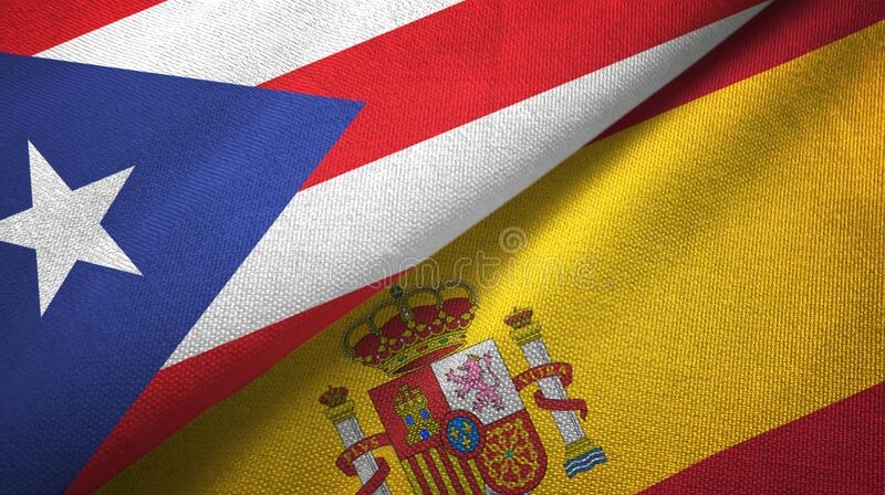 Puerto Rico and Spain two flags textile cloth, fabric texture. Puerto Rico and Spain flags together textile cloth, fabric texture royalty free stock images