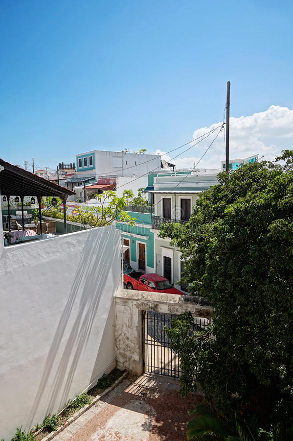 Puerto Rico streets. View from the balcony in Puerto Rico building stock photography