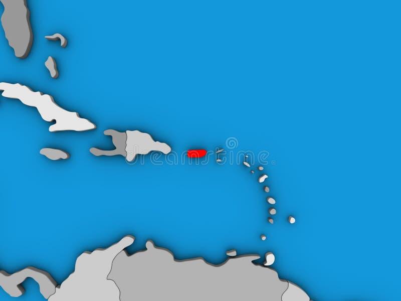Puerto Rico sur la carte 3D illustration libre de droits