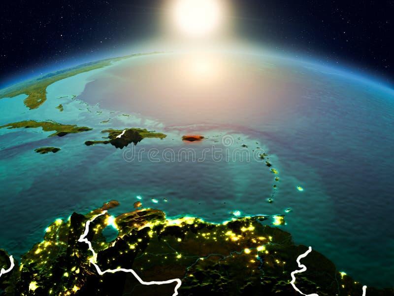 Puerto Rico in zonsopgang van baan royalty-vrije stock fotografie