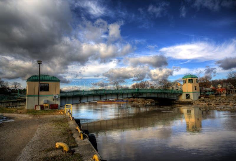 Puerto Stanley, puente de elevación histórico de Ontario imagen de archivo