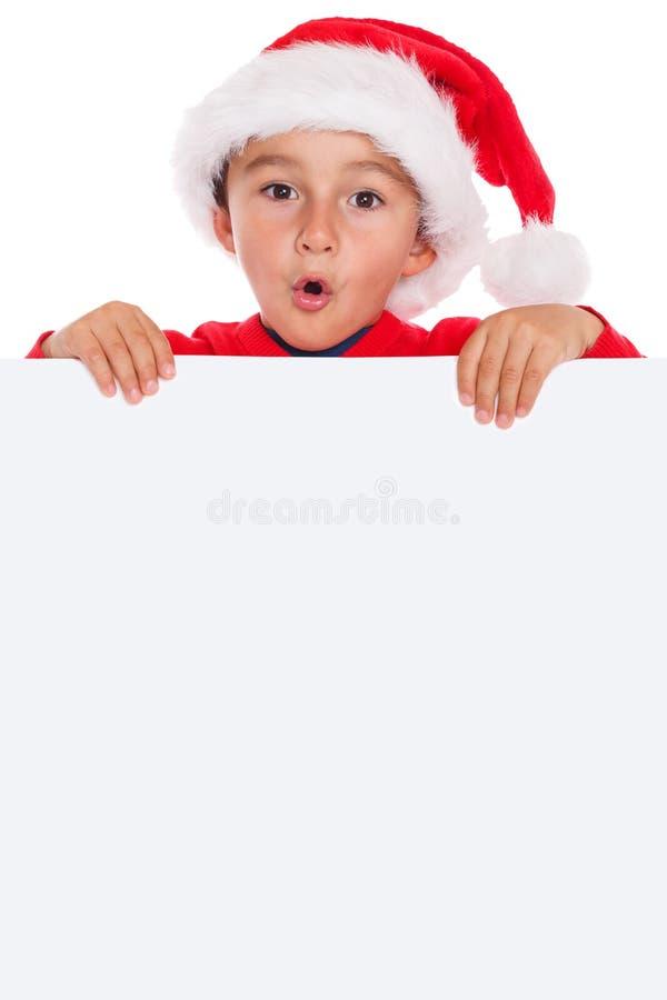 Puerto vacío del copyspace de la bandera de Santa Claus de la tarjeta de Navidad del niño del niño imágenes de archivo libres de regalías