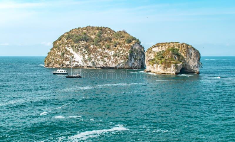 Puerto Vallarta, Mexico view of Los Arcos National Marine Park royalty free stock photography