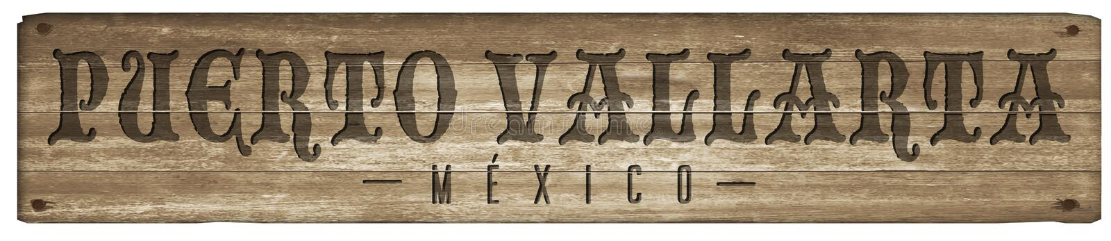 Puerto Vallarta Mexico Wood sign royalty free stock images