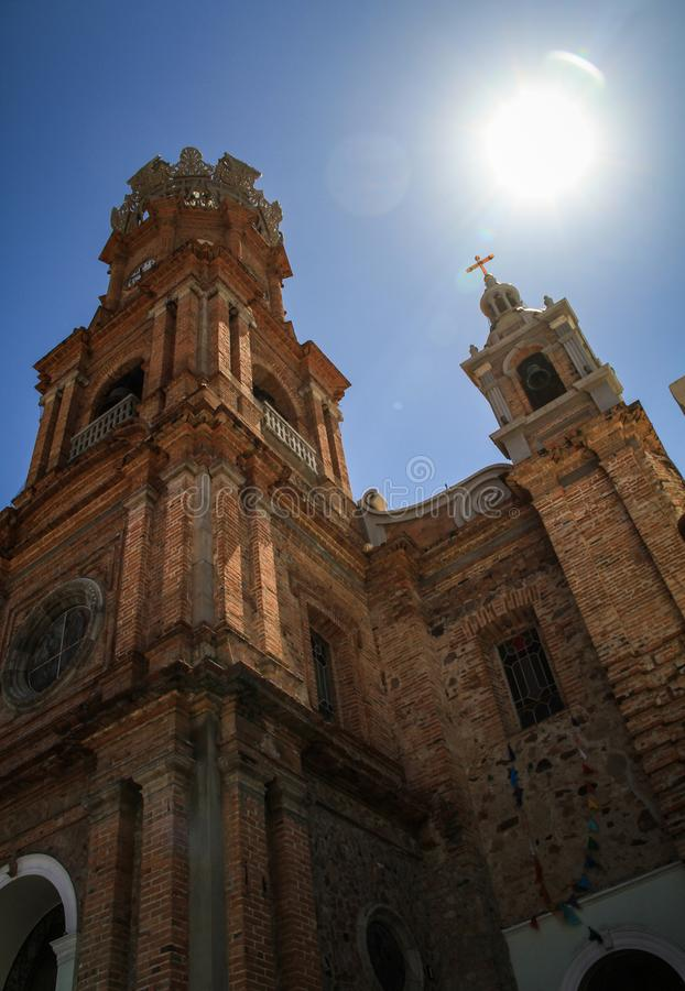 Our Lady of Guadalupe Parish Church, Puerto Vallarta, Jalisco, Mexico. Puerto Vallarta`s parish Nuestra Señora de Guadalupe is a city icon, it dominates stock photography