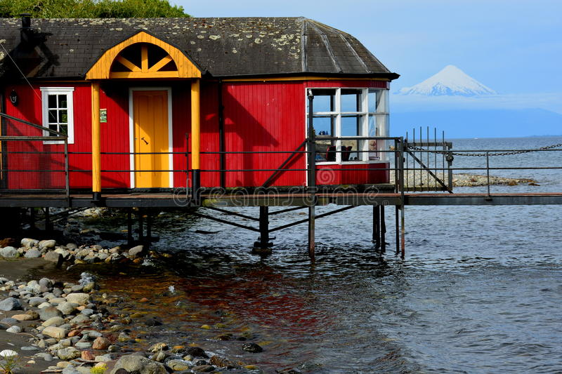 Puerto Varas, Chile. Berth in Puerto Varas with view of the Osorno Volcano royalty free stock images