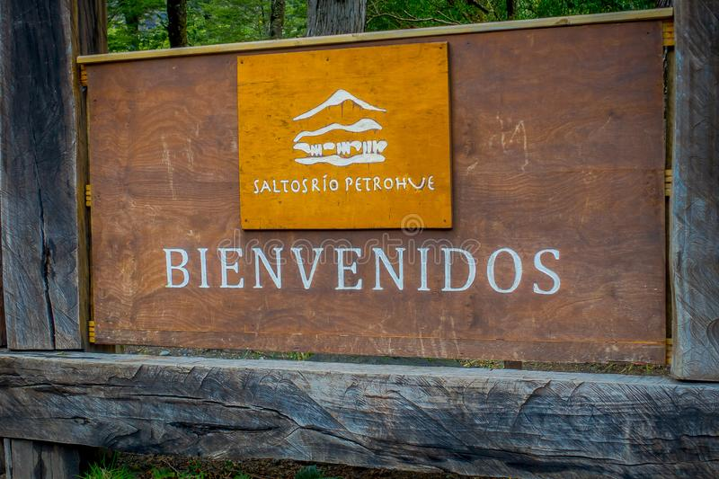 PUERTO VARAS, CHILE, SEPTEMBER, 23, 2018: Outdoor view of welcome sign located at the enter of in Vicente Perez Rosales royalty free stock photography